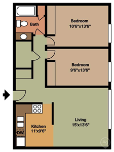 Seville Apartments Two Bedroom Floor Plan at Seville Apartments in Iowa City, IA